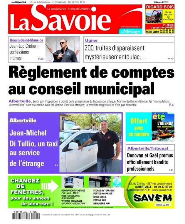 Taxi Albertville à la une du journal La Savoie