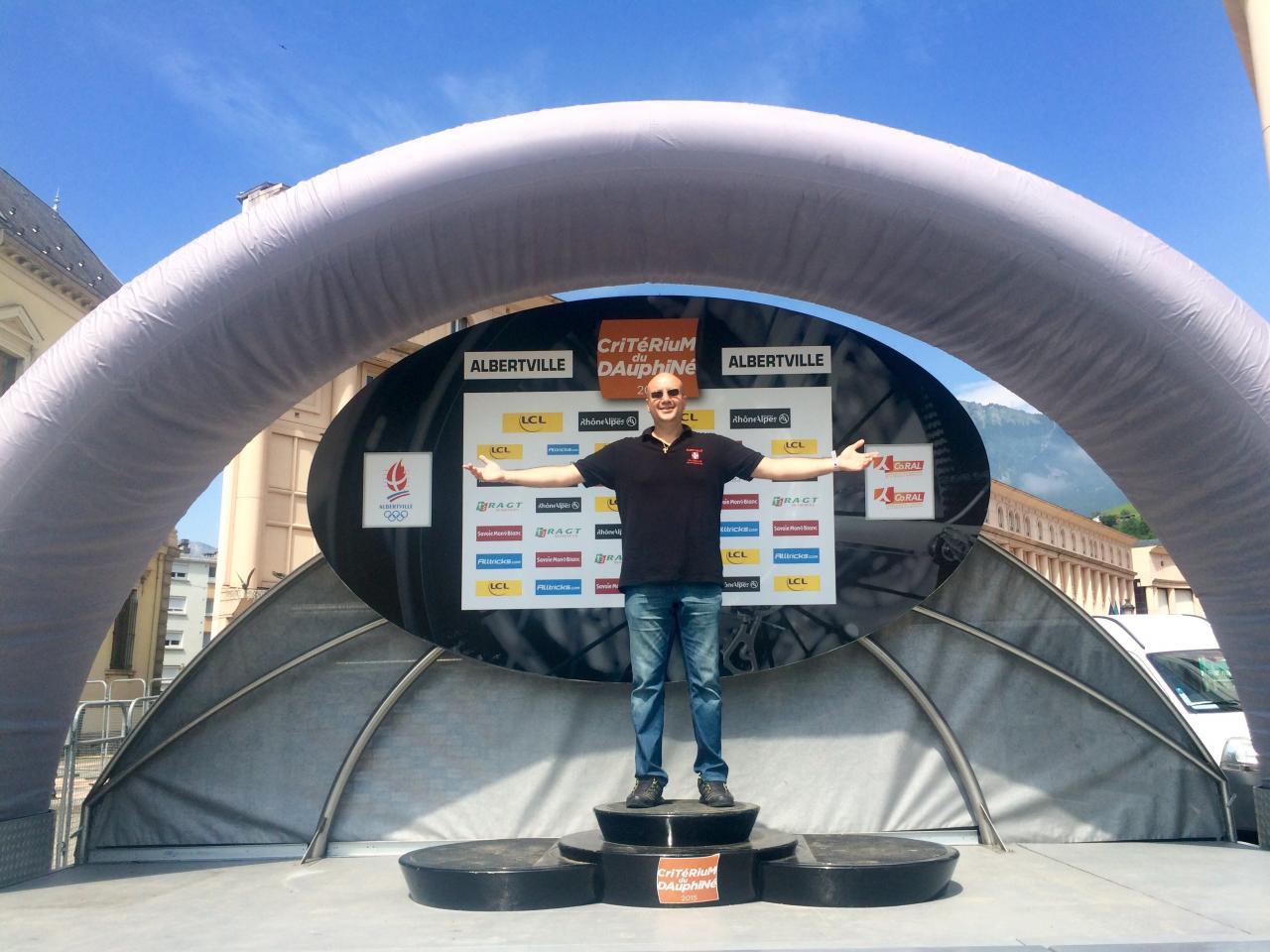 Taxi Albertville Di Tullio sur le podium du critérium du Dauphiné 2015